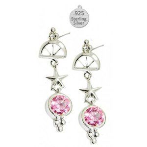 Pink Ice Sea Life Ships Wheel Stone Earring NWT